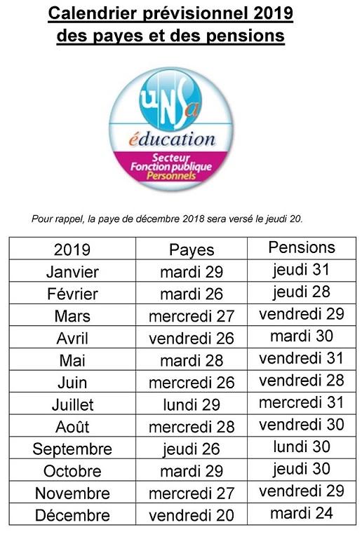 Calendrier Salaire Fonction Publique 2019.Se Unsa 01 Calendrier 2019 Des Payes Et Des Pensions