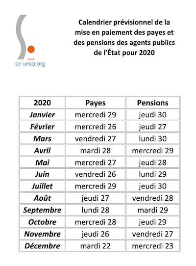 SE UNSA 13] Calendrier prévisionnel des payes et pensions 2020 2021