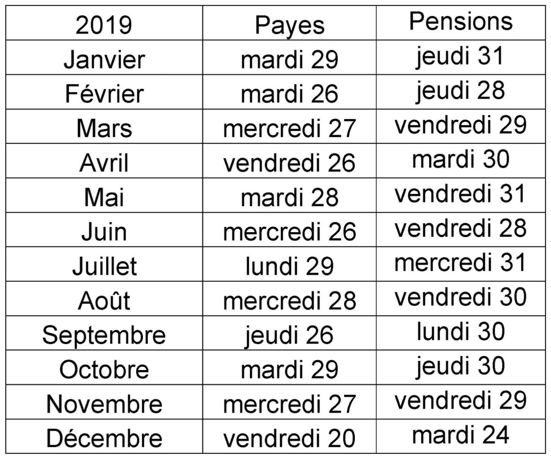 Calendrier Pension.Se Unsa 31 Calendrier Des Payes Et Pensions 2019