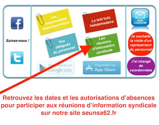 Retrouvez les dates des réunions d'information syndicale sur notre site !