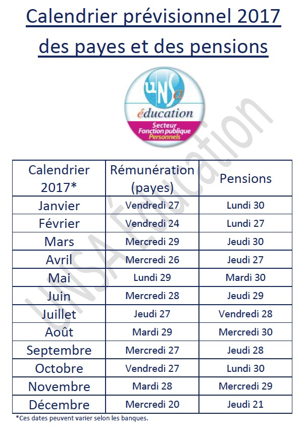 Calendrier Pension.Se Unsa 70 Calendrier Payes Et Pensions 2017